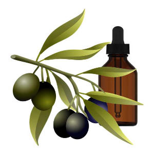Homeopathic remedies with glass bottle and olive leaf